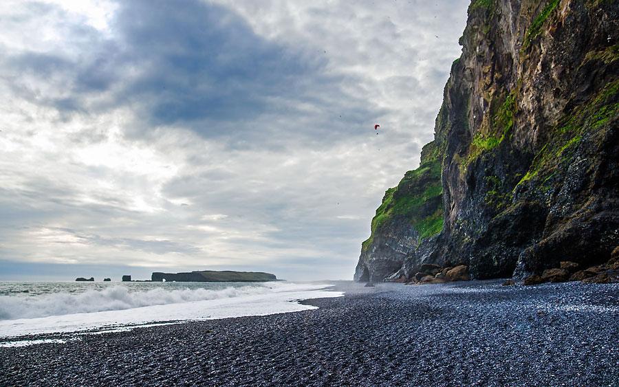 Исландия день второй. Параплан над черным пляжем 9966