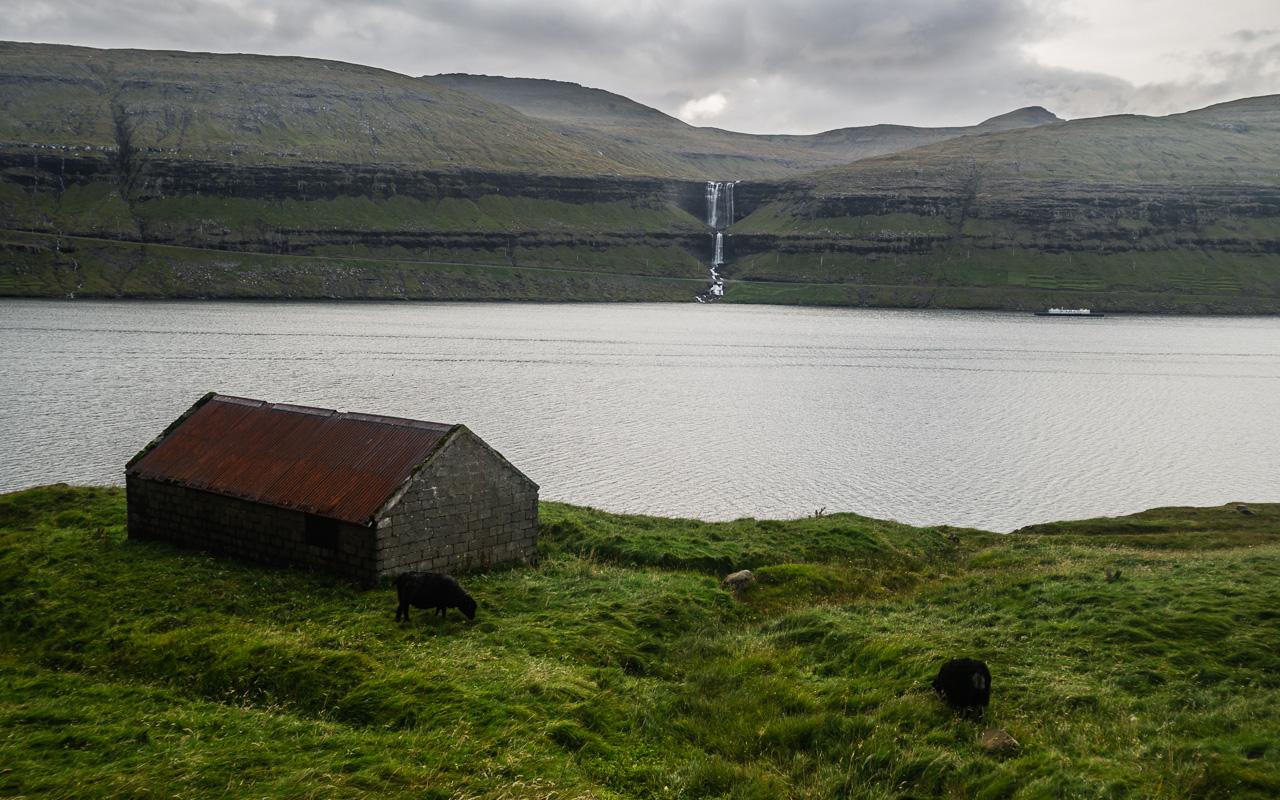 Фареры, день 2 1170|Вид на водопад Фосса через фьорд