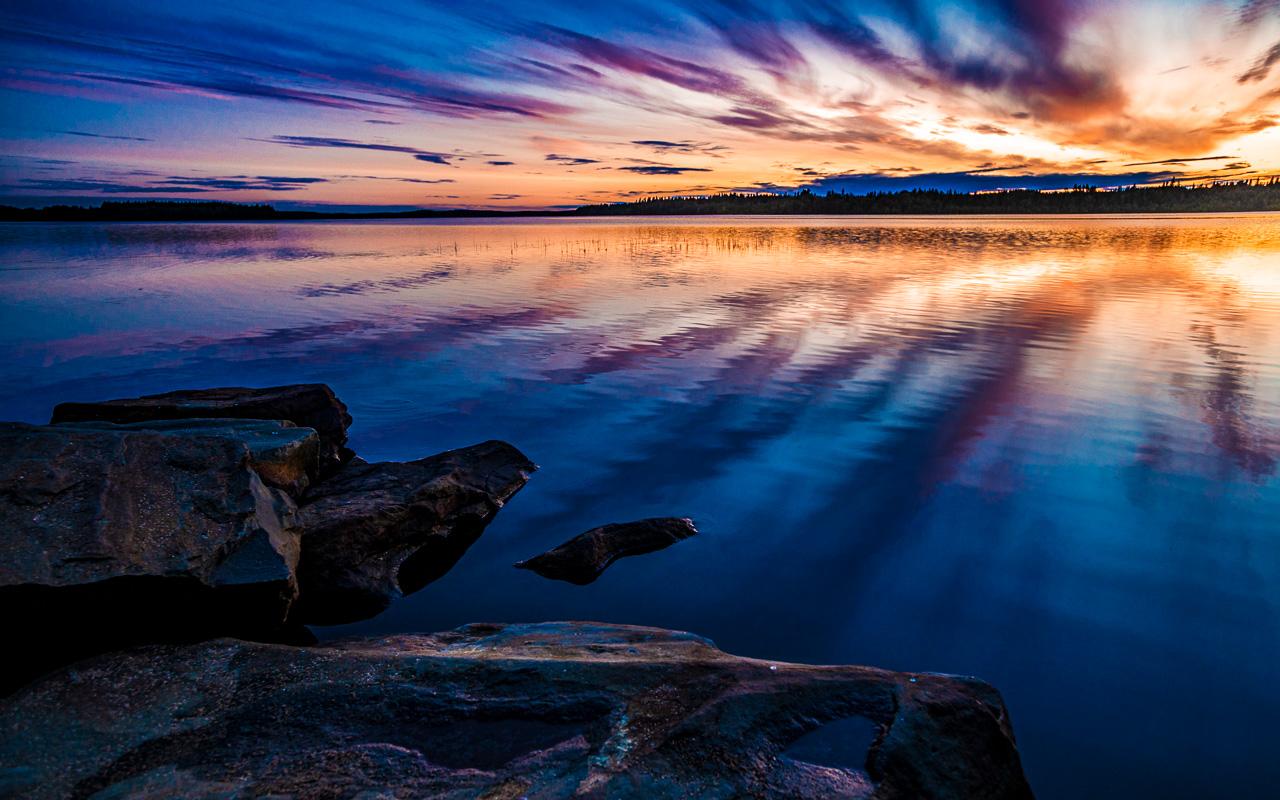 Лофотены, дорога 4573|Закат на озере около Ристиярви