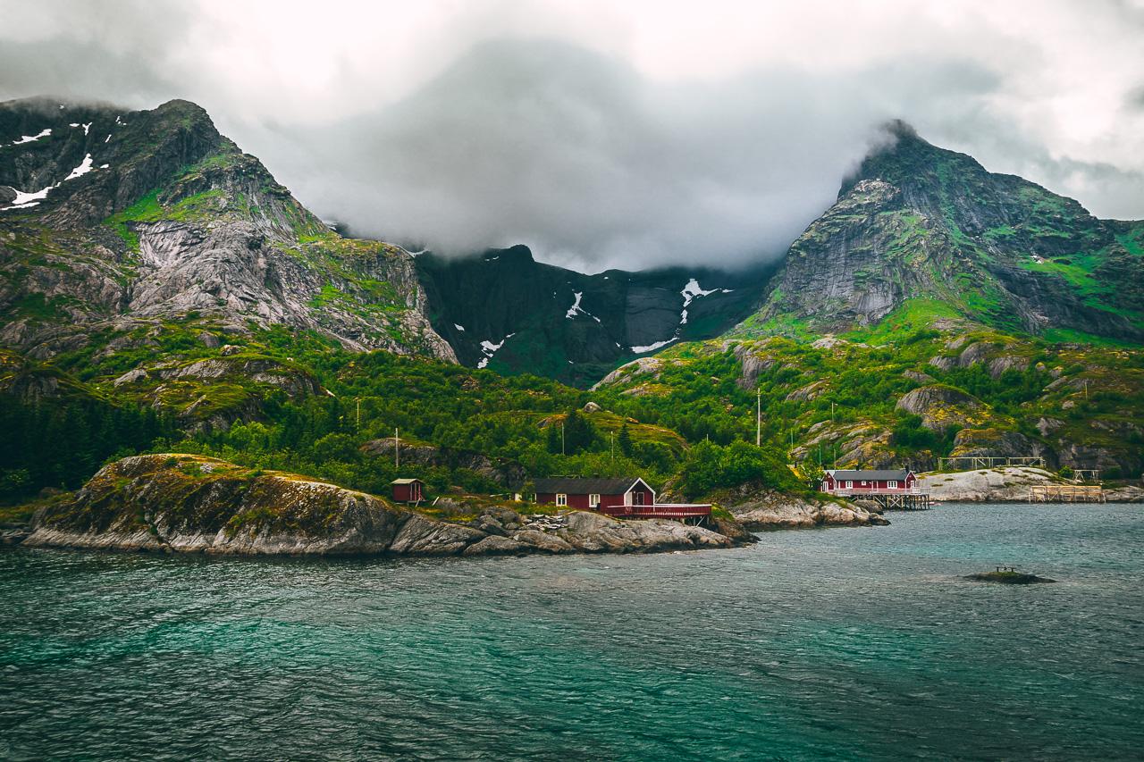 Лофотены, Нуббен и Нюсфьорд 3714|Нюсфьорд и домики рорбу