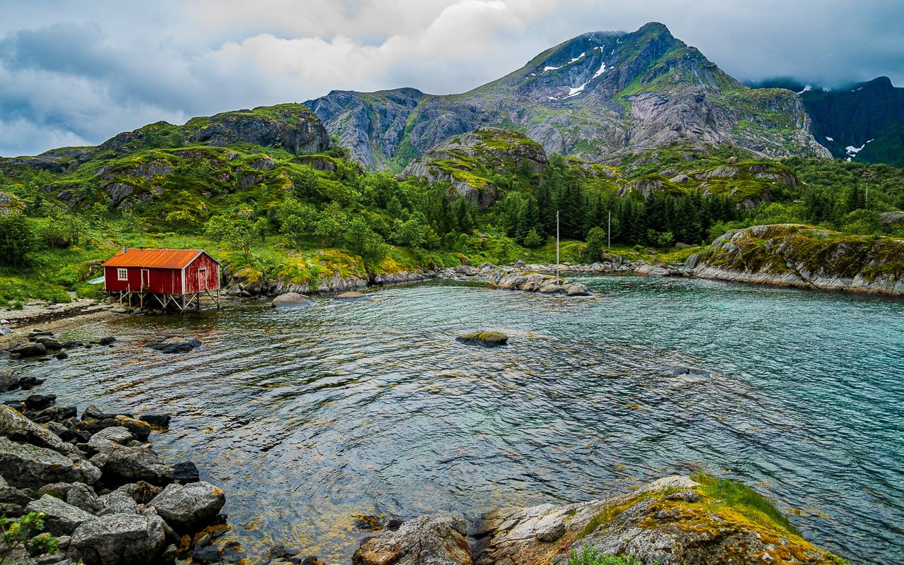 Лофотены, Нуббен и Нюсфьорд 3716|Нюсфьорд и домики рорбу