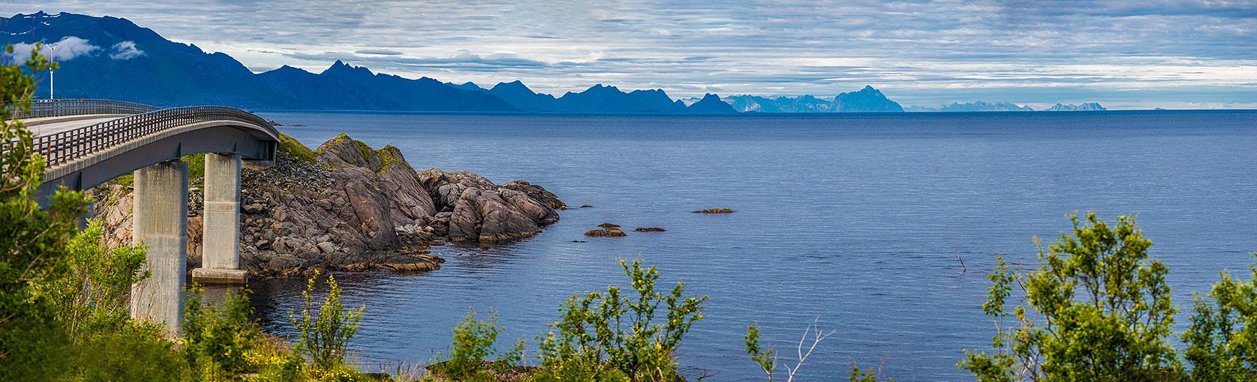 Лофотены, Офферсойкаммен и пляжи 3962|Панорама моста Дьюфьорд